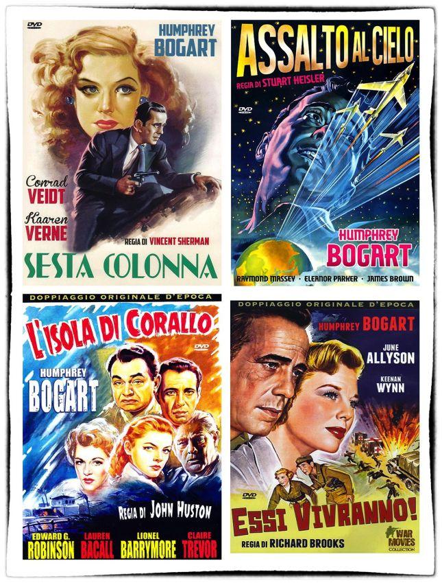 JOLIES JAQUETTES POUR LA SORTIE DVD EN ITALIE DE QUELQUES FILMS DE BOGART, CONNUS ET MOINS CONNUS...